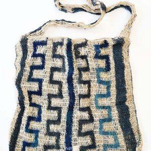 Traditional fibre bilum in razor blade design from the Karamui women's group