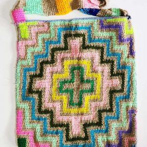 A colourful synthetic yarn bilum handbag